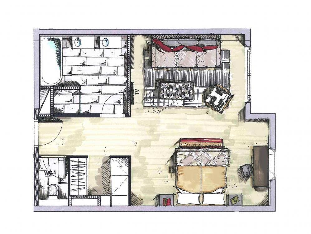 junior suite 57m chalet priv h tel la mourra val d 39 is re. Black Bedroom Furniture Sets. Home Design Ideas