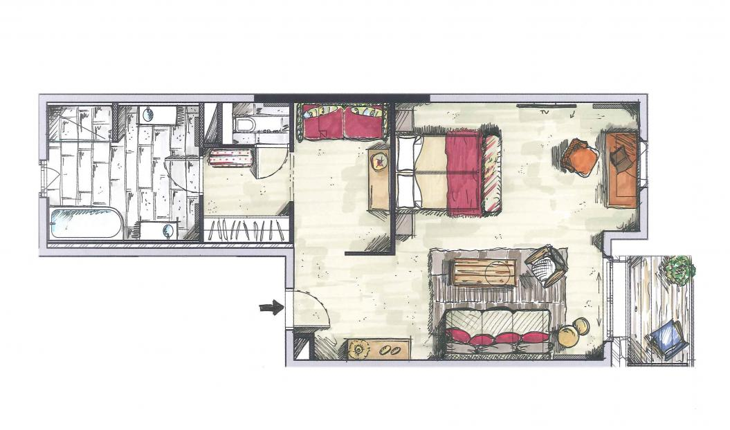 junior suite 67m chalet priv h tel la mourra val d 39 is re. Black Bedroom Furniture Sets. Home Design Ideas