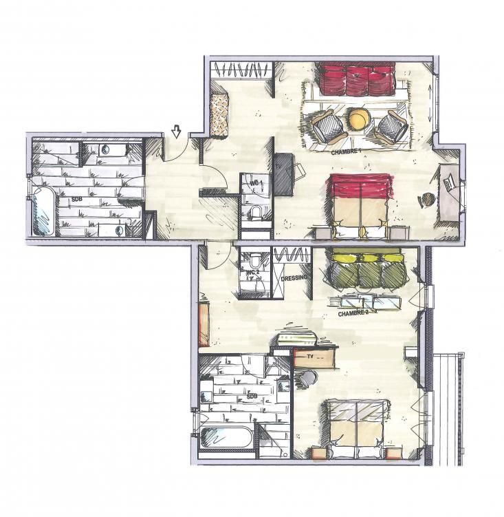 suite 2 chambres 120m chalet priv h tel la mourra val d 39 is re. Black Bedroom Furniture Sets. Home Design Ideas